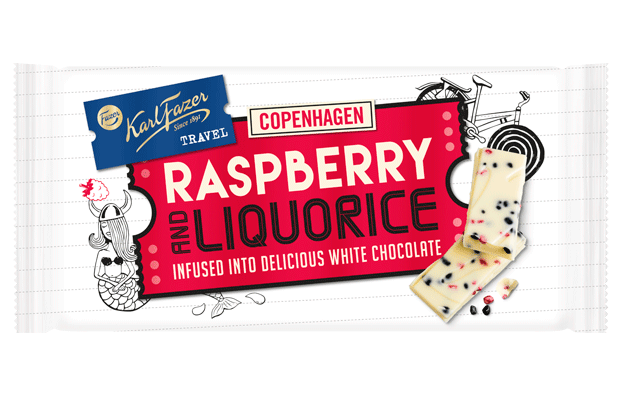 Karl Fazer Travel Raspberry and Liquorice 130 g