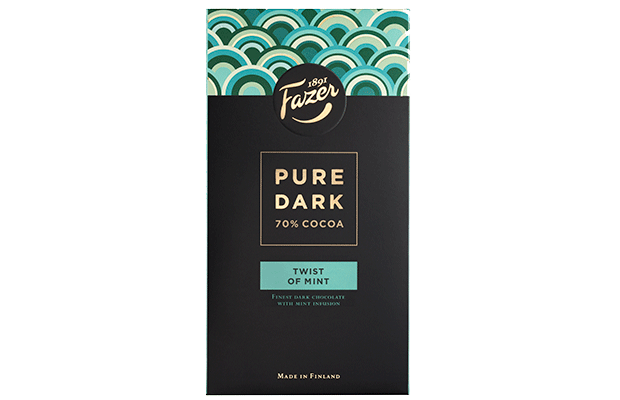 Fazer Pure Dark 70 % cocoa - Twist of Mint 95 g